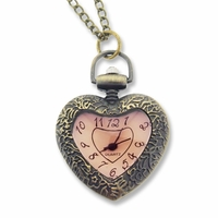 Antiqued Brass Crystal Heart Watch Face Pendant Necklace