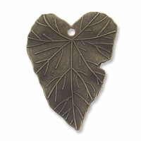 Antiqued Brass Leaf 33mm Pendant (1PC)