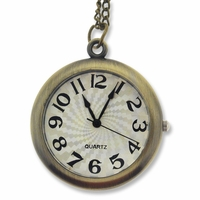 Antiqued Brass Round Watch Face Pendant Necklace