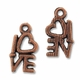 Antiqued Copper 14mm Heart LOVE Charm (1PC)