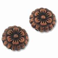 Antiqued Copper 7mm Ornate Flower Disc Bead (10PK)