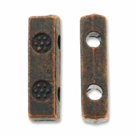 Antiqued Copper 10mm Ornate 2 Holes Spacer Beads (5PK)