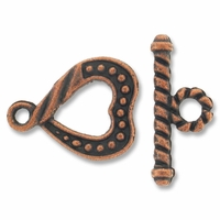 Antiqued Copper Plated 16mm Heart Rope Toggle (1 Set)