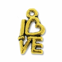 Antiqued Gold 14mm Heart LOVE Charm (1PC)