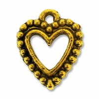 Antiqued Gold 18mm Beaded Open Heart Charms (1PC)