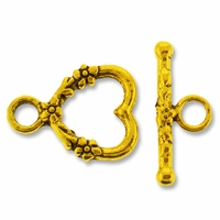 Antiqued Gold 18mm Floral Heart Toggle Clasp (1 set)