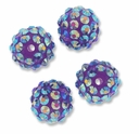 14mm 2XAB Rhinestone Purple Resin Bead (4PK)