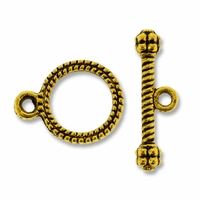 Antiqued Gold Small Rope Toggle Clasp (1 set)