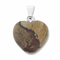 Picture Jasper 20mm Heart Gemstone Pendant