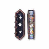 Antiqued Copper  15x6.5x4mm Rhinestone Bridge Spacer Bead, Crystal AB, 3 Strand (5PK)