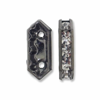Gun Metal 15x6.5x4mm Rhinestone Bridge Spacer Bead, Crystal, 2 Strand (5PK)