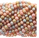 Multi-Color Gold/Pink/Silver Potato Freshwater Pearl 8-9mm Bead Strand