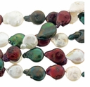 Multi-Color 10-12mm Coin Freshwater  Pearl Bead Strand