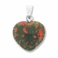 Unakite 20mm Heart Gemstone Pendant