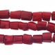 Large Red Coral 10-15mm Tube Beads 16 Inch Strand