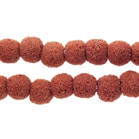 10mm Coral Round Lava Rock Beads 16 Inch Strand