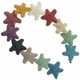 39mm Mixed Color Star Lava Rock Beads 16 Inch Strand