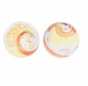Hand Blown 13mm Round Clear Rainbow Swirl Glass Bead (1PC)