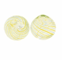 Hand Blown 13mm Round Clear Blue Yellow Swirl Glass Bead (1PC)