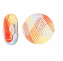 Clear Rainbow Swirl  Hand Blown 15mm Flat Round Glass Bead (1PC)
