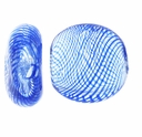 Clear Blue Swirl Hand Blown 15mm Flat Round Glass Bead (1PC)