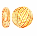 Clear Orange Yellow Swirl Hand Blown 15mm Flat Round Glass Bead (1PC)