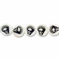 Skull 15mm Shell Coin Beads (1 Strand)
