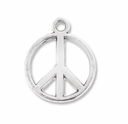Antiqued Silver 17mm Peace Sign Charms (10PK)