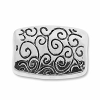 Antiqued Silver Scroll Pattern 14x10mm Rectangular Beads (10PK)