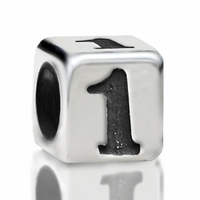 4.8mm Sterling Silver Rounded Cube Number 1