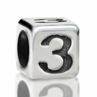 4.8mm Sterling Silver Rounded Cube Number 3
