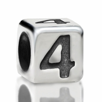 4.8mm Sterling Silver Rounded Cube Number 4