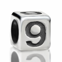4.8mm Sterling Silver Rounded Cube Number 9
