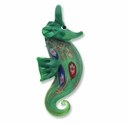 Murano Lampwork Glass 60mm Green Sea Horse Pendant (1PC)