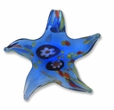 Murano Lampwork Glass 51mm Blue Star Pendant (1PC)