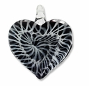 Murano Lampwork Glass Black & White Swirl Heart 50mm Pendant (1PC)