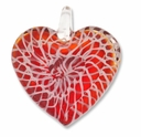 Murano Lampwork Glass Red & White Swirl Heart 50mm Pendant (1PC).