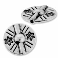 Antiqued Silver 13mm Thai Style Disc Bead (1PC)
