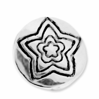 Antiqued Silver 9mm Round Disc Flower Bead (10PK)