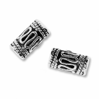 Antiqued Silver 10x4mm Bali Style Tube Beads (10PK)