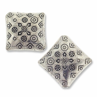 Antiqued Silver 17mm Thai Style Puffed Square Beads (4PK)