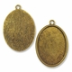 Antiqued Gold Plated 48x33mm Oval Pendant Cabochon Settings (1PC)
