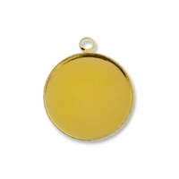 Gold Plated 20mm Round Pendant Cabochon Settings (5PK)