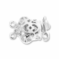 Silver Plated Fancy 17mm 2 Strand Push Clasp (1PC)