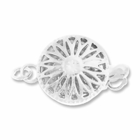 Silver Plated Filigree 12mm Round One Strand Clasp (1PC)