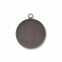 Antiqued Brass Plated 20mm Round Pendant Cabochon Settings (5PK)