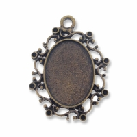 Antiqued Brass Plated 36x30mm Fancy Oval Cabochon Settings (1PC)