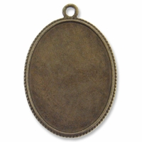 Antiqued Brass Plated 48x33mm Oval Pendant Cabochon Settings (1PC)