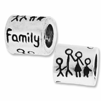 MIOVI™ Silver Plated Large Hole 9x8mm Family Bead (1PC)