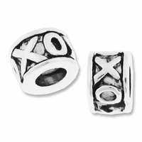 MIOVI™ Silver Plated Large Hole 7.5x5mm XOXO Bead (1PC)